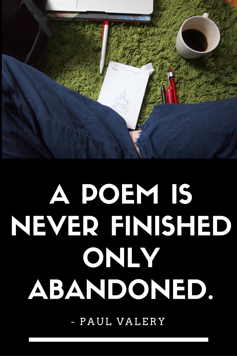 Image with a quote concerning perfectionism: quote A poem is never finished, only abandoned. - Paul Valery